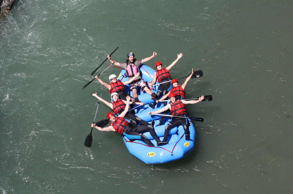 Rafting fun during the family holidays in Spain.